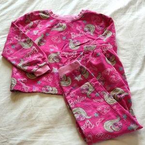 Barbie Cozy Pajama Set Size 6 Pink Barbie Pattern